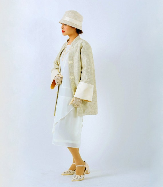 1920s Style Coats Oriental inspired 1920s jacket in cream Miss Fisher jacket flapper jacket Great Gatsby jacket Downton Abbey jacket art deco jacket $145.00 AT vintagedancer.com