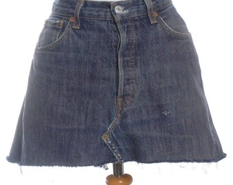 Vintage Levi's 501 High Waisted Blue Denim Mini Skirt W32 14 - www.brickvintage.com
