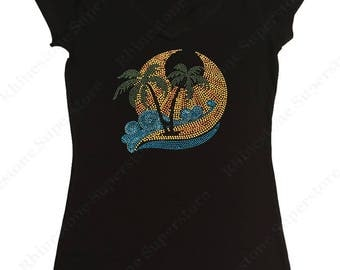 """Women's Rhinestud T-Shirt """" Vacation Scene Palm Trees and Surf """" in S, M, L, 1X, 2X, 3X"""