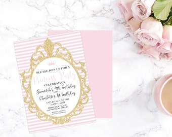 Princess Party Invitation-Printable-Invitation-birthday-DIGITAL FILE-PRINTABLE