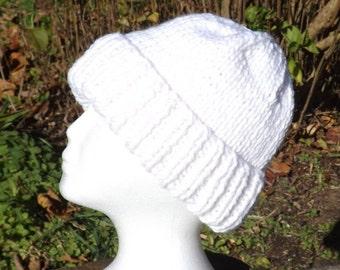 Woman's White Hat, Knit Acrylic Hat, Bulky Ski Cap, White Winter Hat, Warm White Beanie, Woman's White Hat, Snowy Winter Hat, Woman's Gift