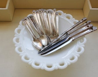 1847 Rogers Brothers Silverware Eternally Yours Service for 4 with extra pieces