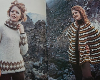 "Reynolds Vol. 81 Knitting Pattern Icelandic LOPI/ Most Size 31- 40"" Poncho Cape, Mother/Daughter Jumpers, Pullover, Cardigan, Sweaters"