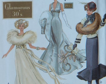 Fashion Doll Clothes Sewing Pattern for 11 1/2 Inch (29cm) Doll/ Simplicity 9704 Doll Collector's Club Glamorous 30's/ Uncut
