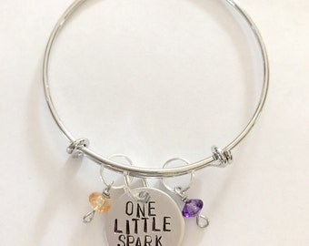 "Disney Epcot Ride Figment Inspired Hand-Stamped Bangle Bracelet - ""One Little Spark"""