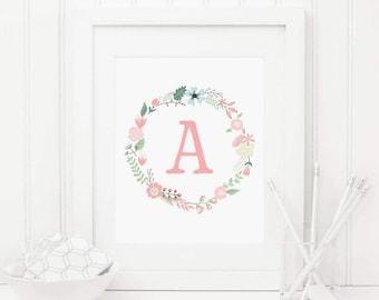 Floral Nursery Initial Printable Letter A Personalized Nursery Wall Art Pink Floral Wreath Pink Nursery Monogram Nursery Letters Aqua 259