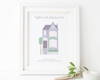 Personalised Family Home Print - Home Sweet Home Print - Personalised House Print - Housewarming Gift - New Home Gift - Family House Print