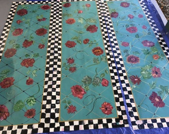 Floorcloth Hand Painted Checked border Teal Floral Linoleum PVC  Rug Runner  Area Rug