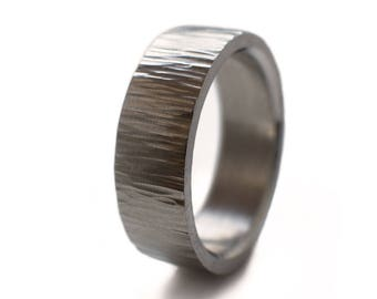 Stainless Steel Ring With Cross Hammered Finish. Made From Surgical Stainless, Men's Ring, Steel Ring, Jewelry For Men