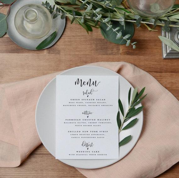 SALE Wedding Menu Printable Custom Wedding Menu Cards Rustic