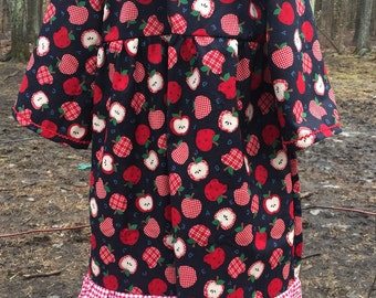 Size 5 Girls dress: Apples and gingham