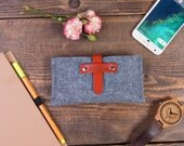 Samsung Galaxy S8 Case, Samsung phone case, Felt and leather sleeve, Free size and color adjustments