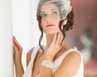Double layer Birdcage veil, Bride veil, bandeau Ivory, White, Champagne, vintage style 1920's 1940's Russian net Bride veil, wedding hair