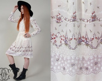 vintage 70s dress vintage 1970s bohemian floral prairie mini dress boho hippie floral and white dress