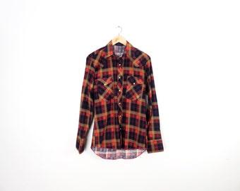 Vintage 80s Deadstock Wrangler Plaid Flannel Western Shirt Size S