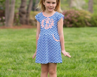 Toddler cheveron dress/ spring/summer dress with pockets/ chest sized monogram/ blue and white dress/ southern charm