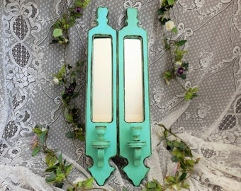 Large Blue Sconces, Mirrored Candle Holder, Set of 2 Matching, Wood, Home Decor, Robin's Egg, Teal, Turquoise, Glazed, Shabby Cottage Chic