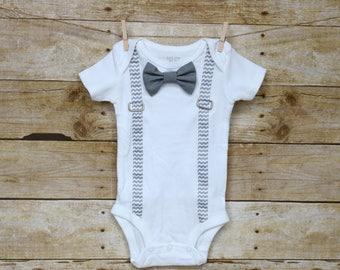 Gray chevron Suspender Baby Bodysuit with Interchangeable Bowties, Interchangeable Bowtie Onesie
