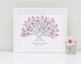 Wide Landscape Custom Thumbprint Wedding Tree Guest Book Print