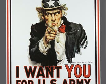 Vintage I WANT YOU For U.S. Army Poster American Propaganda 24 x 36 James Montgomery Flagg