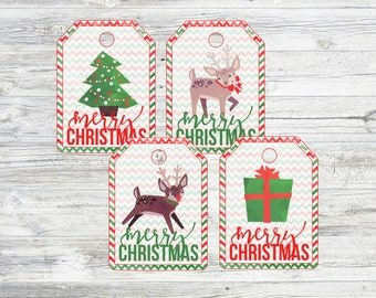 Christmas Tags. Watercolor Reindeer, Christmas Tree, and Gift Tags. Instant Digital Download