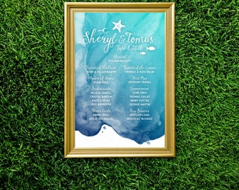The CHRISTY . Program Ceremony Watercolor Large Printed Sign or PDF . Island Beach Boat Destination Wedding Teal Blue Navy Nautical Starfish