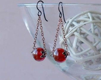 trapeze earrings, copper chain trapeze earrings, CHERRY TRAPEZE, hypoallergenic niobium earwires