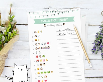 EMOJI PICTIONARY - Bridal Shower Game with Backyard Theme    Brooklyn   Twinkle Lights   Simple [Instant Digital Download]