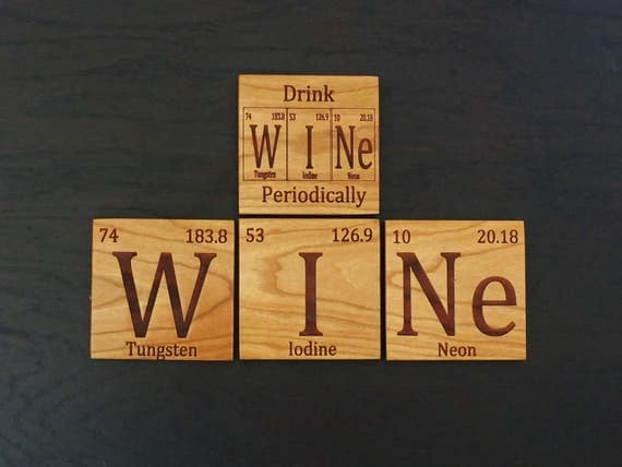 Periodic Table Inspired Wooden Coasters. Available in Cherry  or Maple. Home Decor-Home Bar-Patio-Living Room-Housewarming Gift-Man Cave