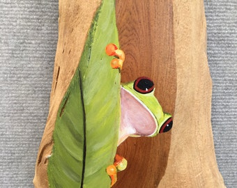 Tree Frog Painting on Driftwood by David Semones Wildlife Artist