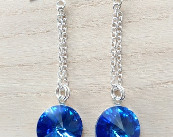 Swarovski Rivoli Sapphire Earrings Long Dangle Dark Blue - Ocean