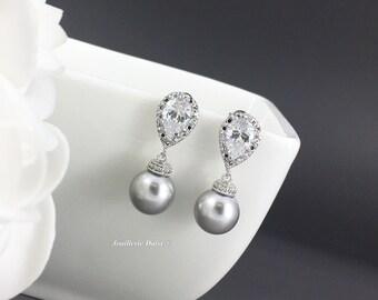 Grey Pearl Earrings, Swarovski Pearl Earrings, Bridal Earrings, Bridesmaids Gift, Wedding Jewelry, Pearl Earrings