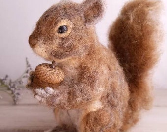 Needle felted animal, Squirrel decor, Woodland squirrel, Forest animal,Woodland decor,Squirrel gift,Needle Felt squirrel, Ooak needle felt