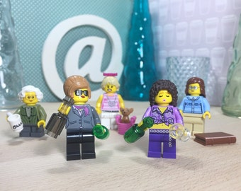 AB FAB Keychains Absolutely Fabulous TV Show Lego Keyrings Gift Set