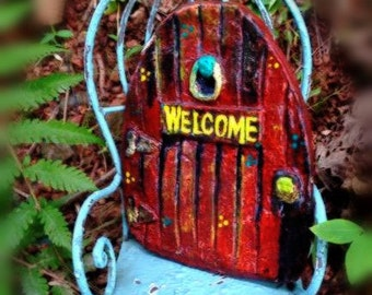 Fairy door RED. Handcrafted at Faery Tale Mountain One of A Kind.
