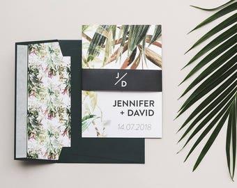 Tropical Wedding Invitations - Greenery Wedding Invitation Set - Destination Wedding Invitations - Wedding Invitation Suite - Botanical