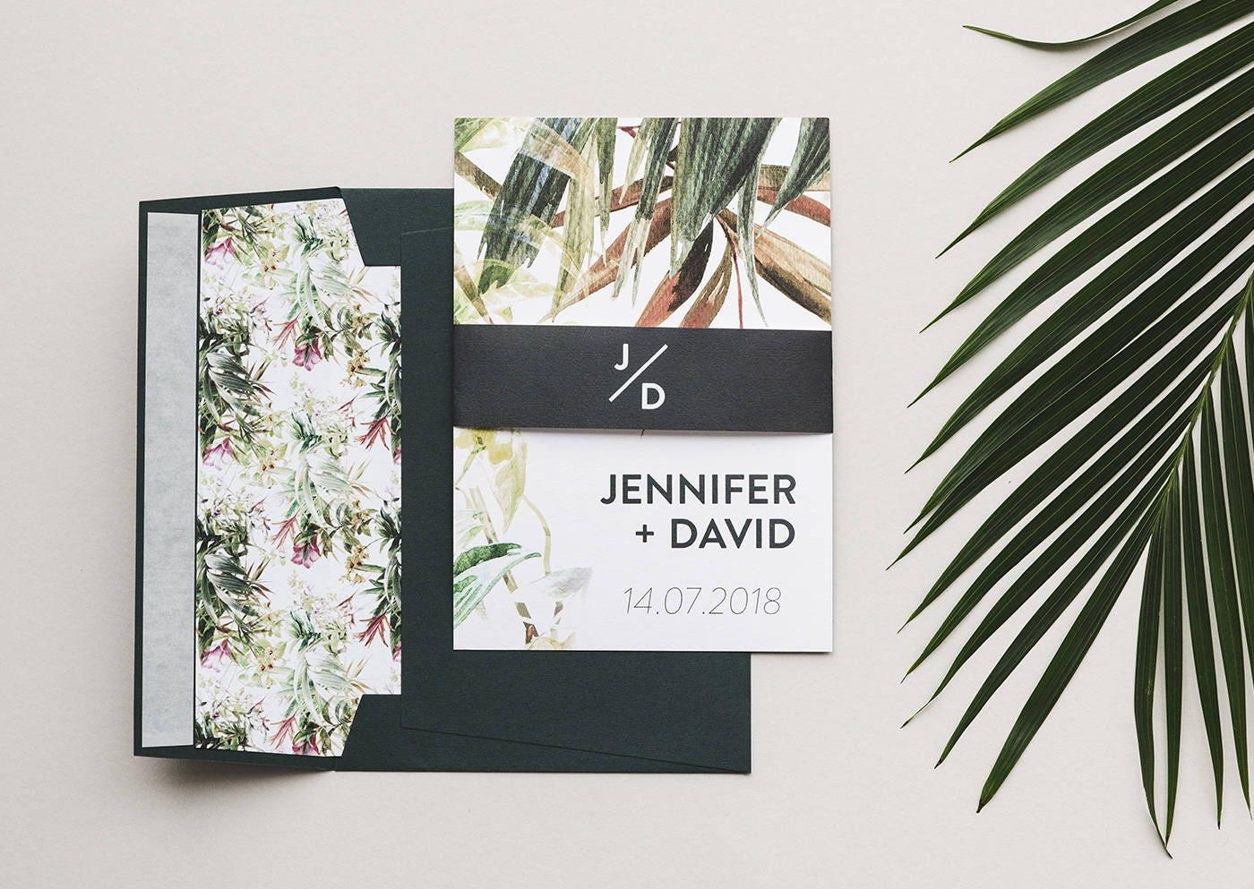 Tropical Wedding Invitations: Tropical Wedding Invitations Greenery Wedding Invitation Set