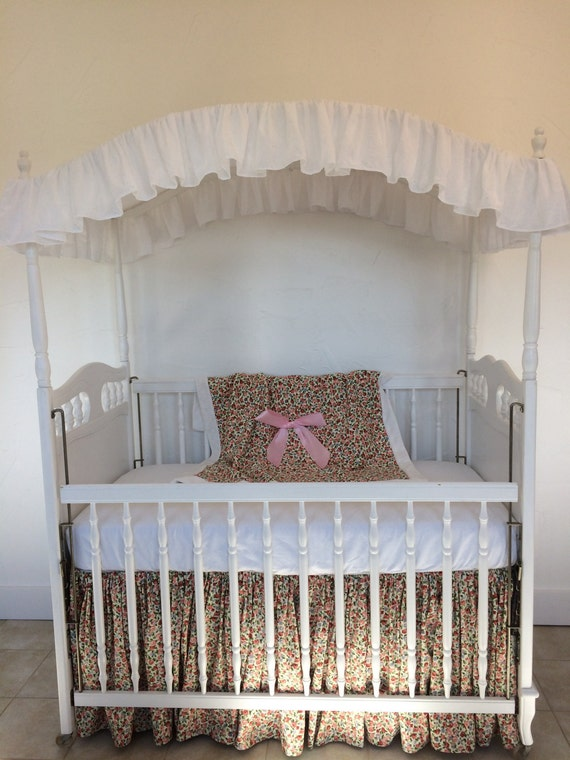 Embroidered white eyelet baby crib canopy cover for White canopy crib