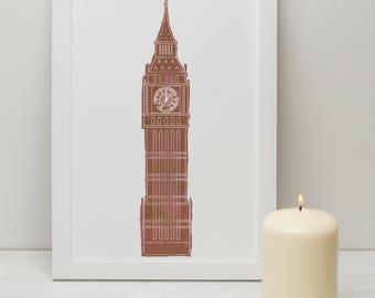 Illustrated Print of London Big Ben