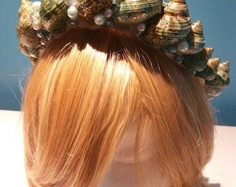 Emerald Mermaid Queen Seashell Crown