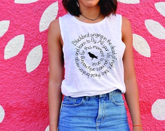 Blackbird singing text, muscle tee, everyday tee, tank, day tops, top, white top, lots of text shirts, shirt, t shirt, muscle tee.