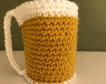 Beer cozy, beer mug cozy, beer, reusable cup sleeve, crochet cozy, cup cozy,cozy cup