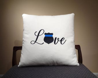 Thin Blue Line Decor, Thin Blue Line Pillows, Police Officer Gift, Thin Blue Line Gift,  Police Wife, Police Family, Back the Police Gift