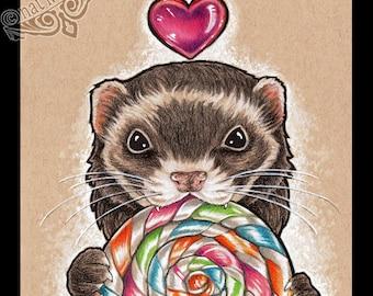 Food Print Ferret Art Print Candy Print Food Illustration Kitchen Decor Kitchen Art Nursery Wall Art Nursery Animal Print for Nursery Gift