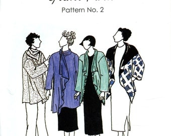 Park Bench Pattern Company No. 2 Grant Park Draped Front Jacket Wrap Cover Up Sized 12-18 Uncut Vintage Sewing Pattern 1995