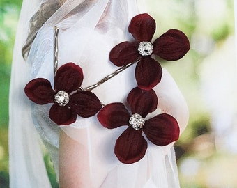 flower hair pin, burgundy hair accessories, bridal hair pins, maroon hair clip, burgundy wedding hair pins, rhinestone hair pins, maroon