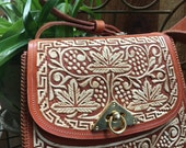 INTRICATE Embroidered Crafts man Leather Handbag Purse Excellent Vintage boho Stitching