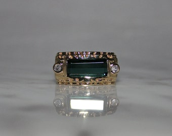 Mans Ring, Mans Green Tourmaline Ring, Mans Diamond Ring, Mans Wedding Ring, Mans Anniversary Gift , 1,600 Appraisal Incl.