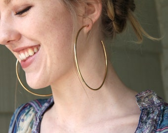 Giant Brass Hoops - Sterling Silver Posts & Backings