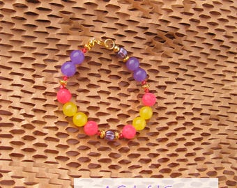 Pink Lemonade Lilac Jade Bead Bracelet